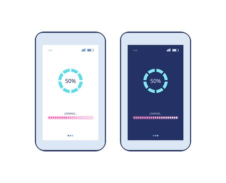 Illustration pour Phone screen with app loading process and progress bar - two tablet or smartphone displays with light and dark mode interface. Software update page - isolated vector illustration. - image libre de droit