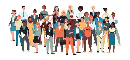 Illustration for Multicultural community - big crowd of people standing together. International diverse group of men and women isolated on white background - flat cartoon vector illustration. - Royalty Free Image