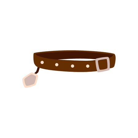 Illustration pour Brown dog collar isolated on white background - flat drawing of pet animal's restraining strap with belt buckle and name tag. Vector illustration. - image libre de droit