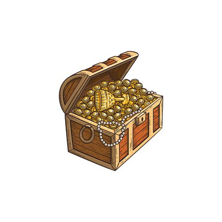 Illustration pour Wooden treasure chest full of ancient gold coins and goods, cartoon hand drawn vector illustration isolated on white background. Pirate treasure icon in sketch style. - image libre de droit