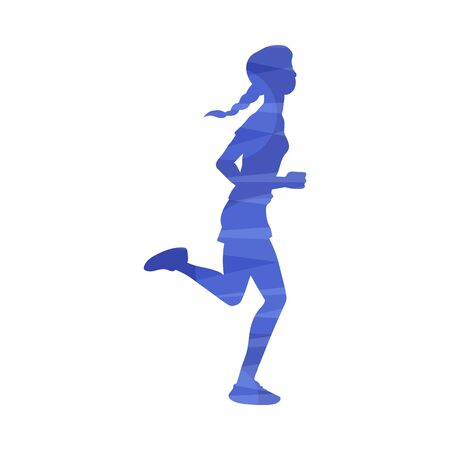 Illustration for Young woman running marathon or jogging at morning, vector illustration in abstract effect isolated on white background. Sport and healthy active lifestyle colorful icon. - Royalty Free Image