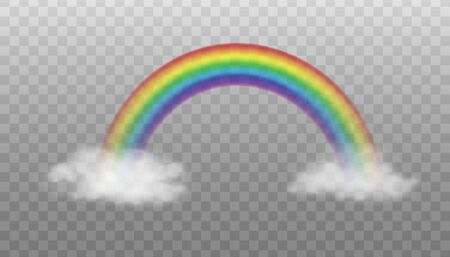 Illustration pour Two clouds connected by rainbow - realistic vector illustration isolated on transparent background. Magical colorful rainbow arc between white clouds. - image libre de droit