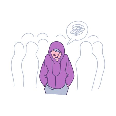 Lonely Person In A Crowd Cartoon Teenager Feeling Alone Among People Sad Depressed Woman Looking Down Wearing A Hoodie And Listening To Music Flat Isolated Vector Illustraiton Royalty Free Vector Graphics