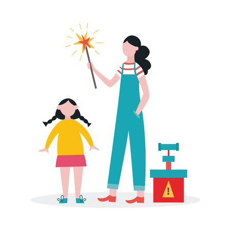 Illustration pour Family lighting a sparkler or firework stick together - mother and daughter standing by detonator and holding lighted stick. Flat isolated vector illustration. - image libre de droit
