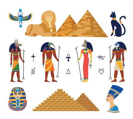 Illustration pour Egypt ancient gods and pyramids icons set cartoon vector illustration isolated on white - image libre de droit