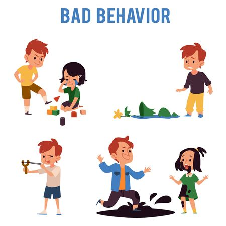 Illustration for Cartoon boy with bad behavior kicking toys, aiming slingshot, jumping in dirt puddle, making sister cry, breaking a vase. Naughty child bully - isolated flat vector illustration set - Royalty Free Image