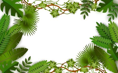 Illustration pour Tropical jungle frame with green leaves from exotic plants, summer time blank rectangle border design with lush foliage and isolated plant leaf variety - isolated vector illustration - image libre de droit
