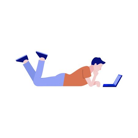 Flat social communication concept with young man male characte lying at floor behind laptop taping, chatting, sending messages. Vector illustration