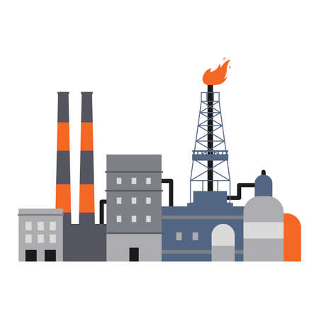 Illustration for Oil industry factory buildings, pipes and drilling rig derrick isolated on white background. Flat vector illustration of industrial plant infrastructure facade, . - Royalty Free Image