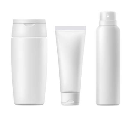 Illustration pour Cosmetics skincare or sun protection products blank white packages mockup, realistic  illustration isolated on white background. Cream or lotion bottles and tubes. - image libre de droit