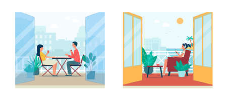 Illustration pour Cartoon people sitting and relaxing on balcony with summer city and tropical island landscape view. Cozy outdoor terrace with open double doors - flat set vector illustration - image libre de droit