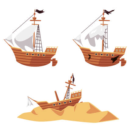 Illustration pour Pirate ship wreck process set - new boat with black flag, old and broken sailboat and shipwreck parts on sand. Flat isolated vector illustration collection of ship run aground. - image libre de droit
