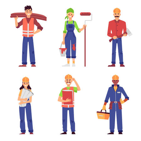 Illustration pour Cartoon set of builder and construction worker people isolated on white background - men and women in uniform standing and smiling - flat vector illustration. - image libre de droit