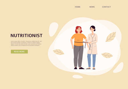 Illustration pour Dietology and weight loss banner with female nutritionist prescribing nutrition schedule for client, flat vector illustration. Professional support for weight control. - image libre de droit