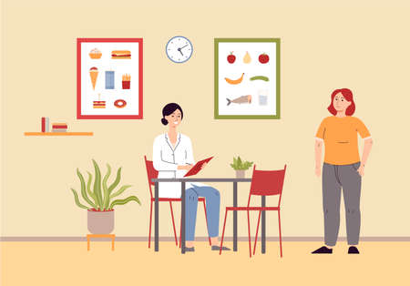 Illustration pour Nutritionist doctor explaining about diet to overweight woman at medical clinic room interior background. Dieting and weight control specialists consultation scene. - image libre de droit
