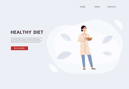 Illustration pour Healthy diet banner with dietolog cartoon character, flat vector illustration. Weight loss program, diet planning and nutritionist prescribing concept. - image libre de droit