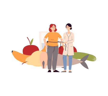 Illustration pour Diet planning and dietology concept with female nutritionist cartoon character measuring her client with tape, flat vector illustration isolated on white background. - image libre de droit