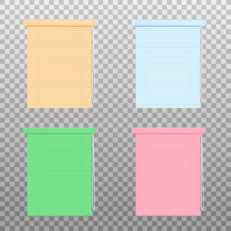 Set of various colors blinds or rolling curtains, realistic vector mockup illustration isolated on transparent background. Office or house interior element template.