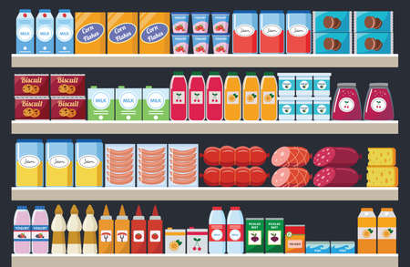 Illustration for Supermarket shelves with assortment food products and drinks flat colorful cartoon vector illustration. Grocery market interior retail stands background. - Royalty Free Image