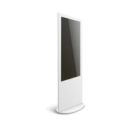 Illustration pour Isolated mockup of white interactive digital kiosk for advertising with blank black screen seen from side view - computer terminal display on white background, vector illustration - image libre de droit