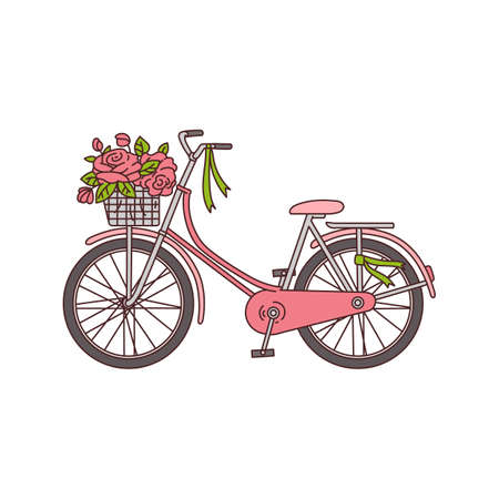 Illustration pour Bicycle with basket full of blooming flowers icon sketch vector illustration isolated on white background. Romantic spring or summer vacation travel symbol. - image libre de droit