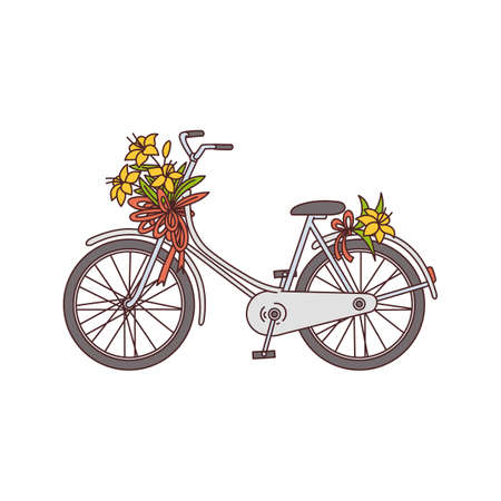 Photo pour Romantic image of bicycle with flowers sketch cartoon vector illustration isolated on white background. Bike with wildflowers icon or symbol for spring and summer topic. - image libre de droit