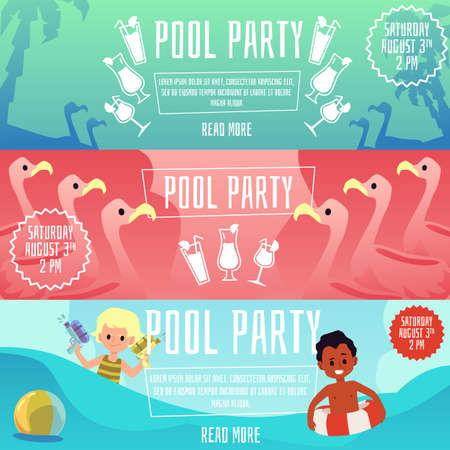 Illustration pour Swimming pool children party set of flyers or posters, flat vector illustration on color background. Kids summer activity and holiday event celebration advertisement. - image libre de droit