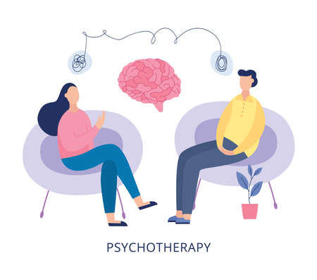 Illustration pour Psychotherapy poster - cartoon people at mental heath therapy session sitting on chairs and talking about problems and brain parts. Vector illustration of therapist office. - image libre de droit