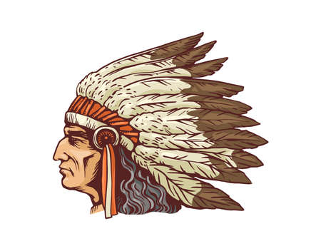 Illustration pour Indian chief head portrait in native feather headdress, sketch cartoon vector illustration isolated on white background. Historic Indian tribe man character. - image libre de droit
