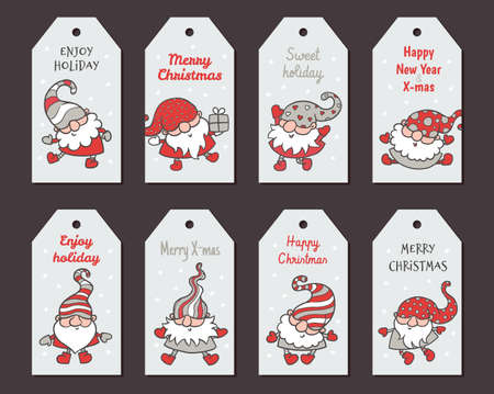 Illustration pour Greeting Christmas cards or badges design set with cartoon gnome or dwarf, flat vector illustration isolated on background. Christmas tags or labels for gift package. - image libre de droit