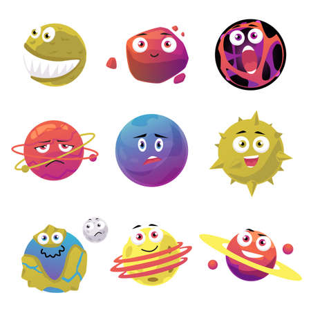 Illustration pour Set of cute space planets and meteors cartoon characters, flat vector illustration isolated on white background. Universe and cosmos objects creative collection. - image libre de droit