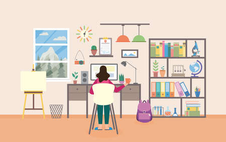 Illustration pour Woman sitting in chair studying and working from home workplace studying room. Cabinet furniture and computer for distance learning, flat cartoon vector illustration - image libre de droit