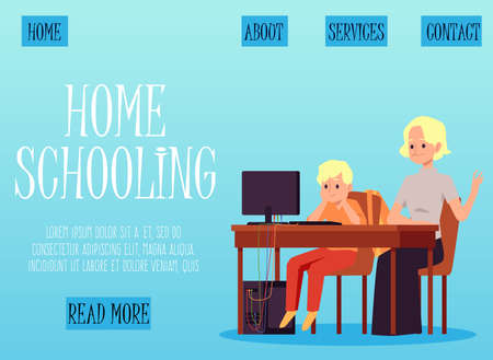 Illustration pour Homeschooling web page with kid learning with the help of his mother, flat vector illustration. Distance learning and home education website interface template. - image libre de droit
