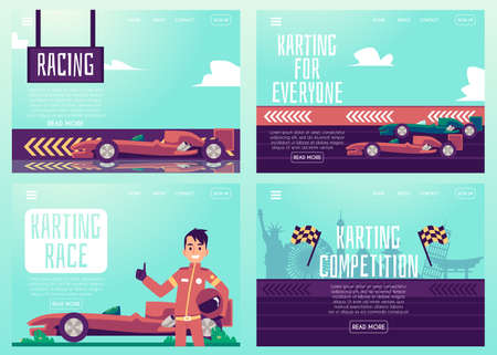 Illustration pour Set of banners or posters for car racing and karting track, flat cartoon vector illustration. Auto race competition and sport cars track advertising bundle. - image libre de droit
