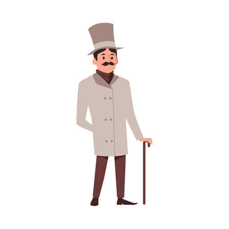 Illustration pour Victorian english aristocrat. A gallant courteous man, a gentleman with a mustache in an elegant frock coat, hat and carrying a cane. Flat cartoon vector isolated illustration - image libre de droit