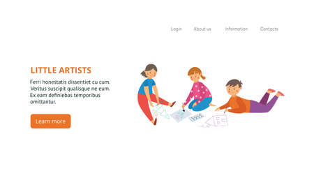 Illustration for Banner or flyer for kids creative art classes with little artists drawing all over, flat vector illustration. Drawing and painting lessons for children ad. - Royalty Free Image