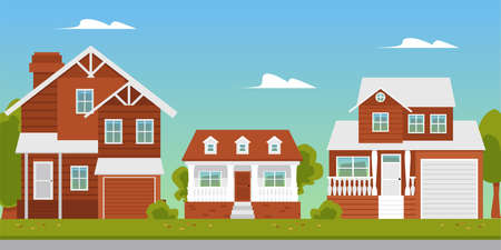 Illustration for Suburban summer landscape with beautiful residential buildings or brick country cottages, flat vector illustration. Modern countryside or suburb dormitory street. - Royalty Free Image