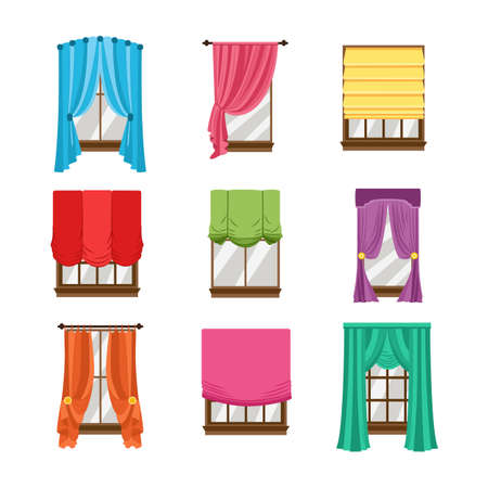 Collection of window colored blinds, curtains, drapery and shades. A set of various kind of design window treatments. Flat vector illustrations isolated on a white background.