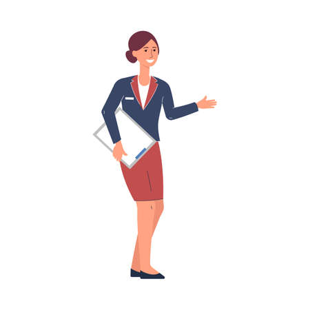 Illustration for Restaurant manager or hostess female character, flat vector illustration isolated on white background. Full length portrait of restaurant manager with a clipboard. - Royalty Free Image