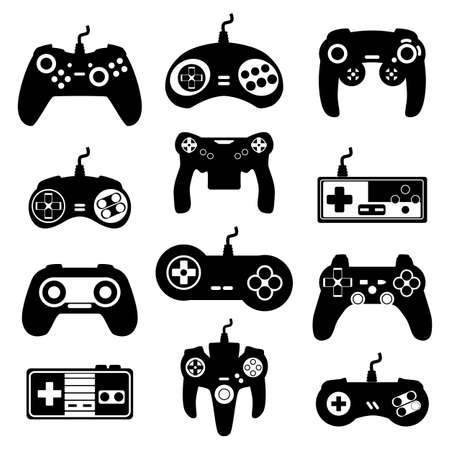 Illustration pour Set of retro and modern gamepads, consoles, joysticks and playing devices for video games. Black icons of computer gadgets and digital controllers. Vector isolated illustrations - image libre de droit