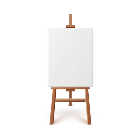 Illustration for Artist easel with blank white canvas realistic vector illustration isolated. - Royalty Free Image