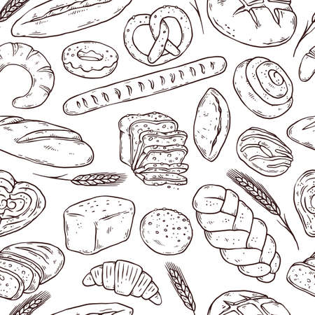 Illustration pour Seamless pattern with hand drawn bread, doodle vector illustration isolated. - image libre de droit