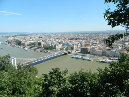 The famous Budapest Hungary lanchid or bridge with chains with a view from Gellert Hill