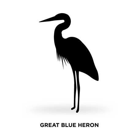 Illustration for great blue heron silhouette Vector illustration. - Royalty Free Image