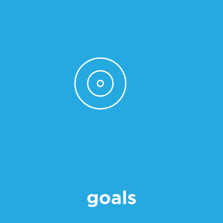 Goals icon isolated on blue background, vector illustration