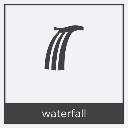 Waterfall icon isolated on white background with black border