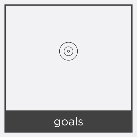 goals icon isolated on white background with black border