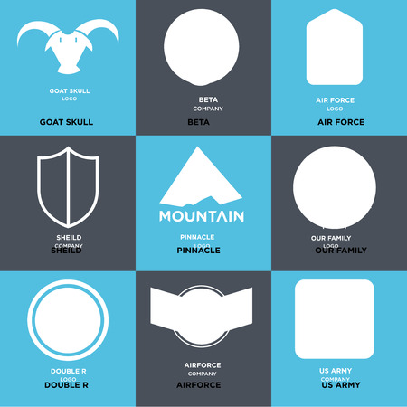 9a8e828e Set Of 9 simple editable icons such as us army, Airforce, double r,
