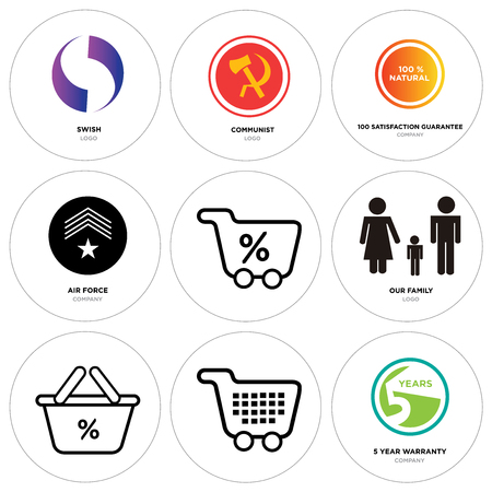 6867704d Set of 9 simple editable icons such as 5 year warranty, shopping, discount  percent