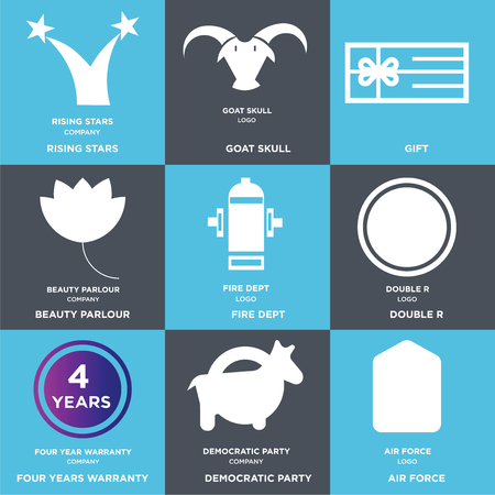 1d25befd Set Of 9 simple editable icons such as air force, democratic party, four  years